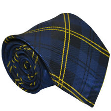 (TPS004) MenWithTie Blue Tartan Men Tie Matching Handkerchief Men Necktie Set