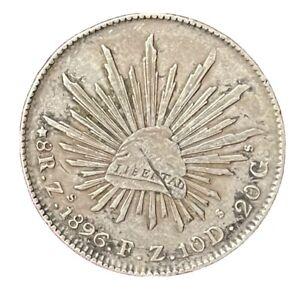 Mexico 1896 Zs FZ 8 Reales Libertad Silver Eagle & Snake / Cap & Rays Coin