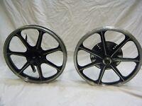 Kawasaki KH100 wheels genuine complete 7 spoke disc spacers spindles