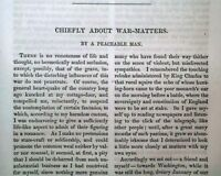 """NATHANIEL HAWTHORNE """"Chiefly About War Matters"""" First 1st Printing 1863 Magazine"""
