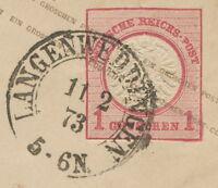 """DT.REICH 1873, Kab.-GA-Umschlag 1 Groschen mit sehr selt. K2 """"LANGENWEDDINGEN"""""""
