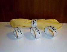 "New listing Set of (4) Porcelain Napkin Rings ""Holly Leaf Design"" Unused - Made in Japan"