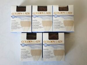 LOT DE 5 COLLANTS EXTRA LARGE GOLDEN LADY 20 DEN TAILLE 6-XXL COULEUR DAINO