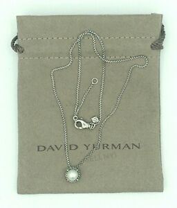 """DAVID YURMAN Chatelaine Pendant Sterling Silver Necklace with Pearl 17-18"""""""