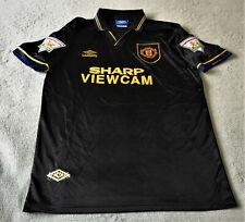 01e4e4782 Manchester United 1993 1995 Classic Retro Cantona Black Away Jersey