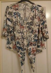 Ladies - TU Woman - Smart Summer Short Sleeve Wild Animal Design Top - Size 18