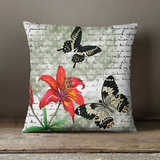 S4Sassy Butterfly Print Home Decorative Green Pillow Case Throw Cushion Cover
