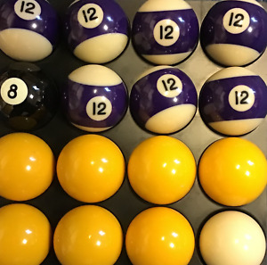 "2"" league Pool ball set ;7 yellow + 7 x no12 ball ,8 ball + 1 7/8"" cue ball"