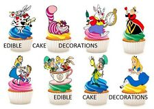 32 ALICE IN WONDERLAND STAND UP Cupcake Cake Topper Edible Paper Decorations