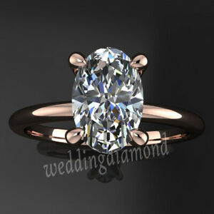 Solitaire 2.58 Ct White Oval Moissanite Engagement Ring Solid 10k Rose Gold 6.5