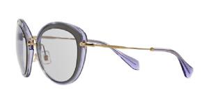 NEW Miu Miu MU50RS UFA3F2 Sunglasses,  Grey & lilac with gold arms / Lilac Lens