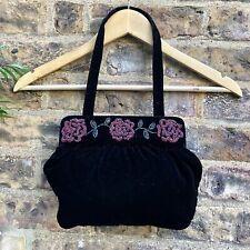 Lulu Guinness - Black Velvet Bag with Beaded Design / small mini handbag hand