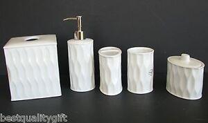 NEW 5PC SET WHITE PORCELAIN SOAP DISPENSER,TOOTHBRUSH,TUMBLER,JAR+LID,TISSUE BOX