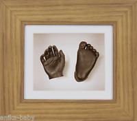 Nuevo Único Unisex bebé Set regalo 3d para moldear Bronce Mano Pie Roble Marco