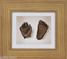 New Unique Unisex Baby Gift Set 3D Casting Kit Bronze Hand Foot Oak Effect Frame