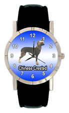 Chinese Crested Puppy Dog Mens Ladies Genuine Leather Quartz Wrist Watch SA1107