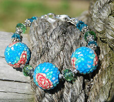 Western Rodeo Cowgirl Handmade Artisan Chunky Funky Floral Bracelet