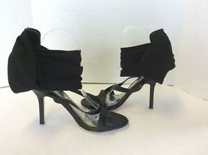 BEBE Black Heeled Strappy Vamp Fabric  Ankle Strap Stilettos Shoes Size 9 M