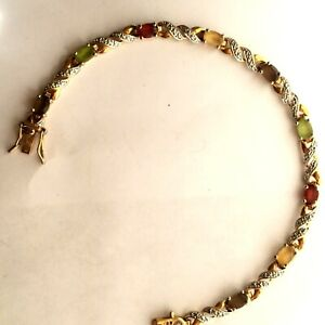 Gem Set Bracelet Solid 925 Sterling Silver Ruby Peridot Yellow Topaz