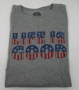 Men's Life is Good T Shirt Stars Stripes  Large