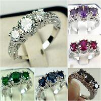 925 Silver Three Stone Ruby Emerald Sapphire Ring Wedding Women Jewelry Size6-10