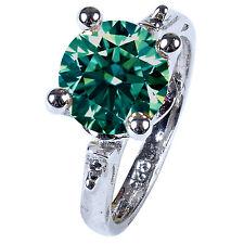 2.55 ct vs1/BLUE GREEN REAL MOISSANITE & NATURAL BLACK DIAMOND.925 SILVER RING