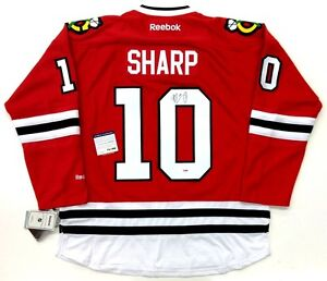 PATRICK SHARP SIGNED CHICAGO BLACKHAWKS 2010 CUP REEBOK JERSEY PSA/DNA W88893