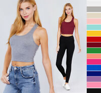 S-L NEW Women's Basic Stretchy Cotton Soft Knit Crop Tank Top Racerback Solids