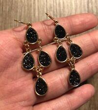 Negro Pendientes de araña gota diseño oro tono base impresionante Elegante Brillante