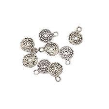 SPIRAL SWIRL CIRCLE Tibetan Silver Bead charms Pendants 10pcs 11*11mm