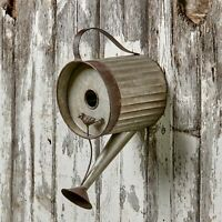 Watering Can Birdhouse - Distressed Metal Bird House for Hanging Outdoors