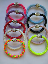 Wholesale 10 Magnetic Rhinestones Disco Balls Beads Leather Wrap Cuff Bracelet