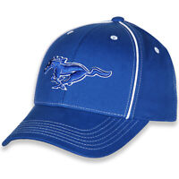 Checkered Flag Sports Ford Mustang Logo White Piping Blue Hat