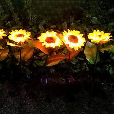 2pcs Sunflower Shaped LED Solar Lawn Lamps Waterproof Outdoor Garden Lights