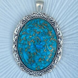 Blue Copper Turquoise Mineral Gemstone Large Oval Pewter Pendant