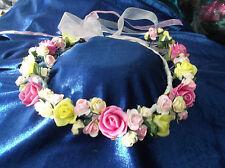 Pink/Citron/Lemon  Flower Circlet - Wedding Halo, Flower Girl - by Valerie J