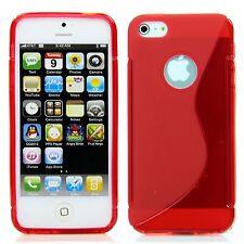 Apple iPhone 5 5S TPU Silikon Case Schutz Ring Hülle Etui S-Line Bumper Rot