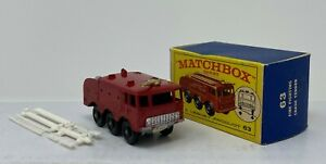 Matchbox #63 Fire Fighter Airport Crash Tender Orig Box with black wheels Lesney