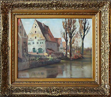 Antique European 20th Century Dutch Oil Painting Town near the Lake with Houses