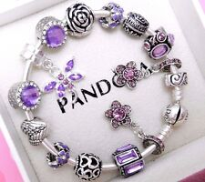 Authentic Pandora Silver Bangle Charm Bracelet With Princess European Charms.