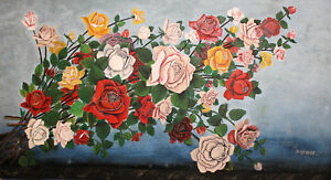 1968 Large Floral Gouache Painting Flowers Roses Signed
