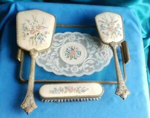 Vintage Petit Point Embroidered Brass Dressing Table Set Tray, Mirror, Brushes