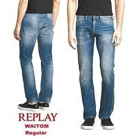 Jeans uomo REPLAY pantalone WAITOM W32 L32 regular slim strappato destroyed M983