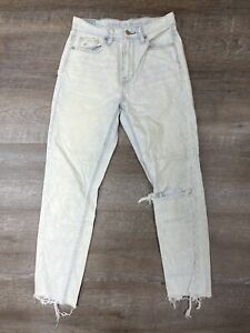 American Eagle Mom Jeans Distressed Light Wash High Rise Size 2