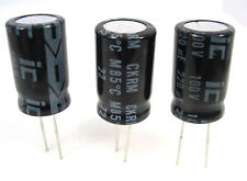220uF 100V Radial Lead Electrolytic Capacitors: 3/Lot: Mfg. Illinois Capacitor