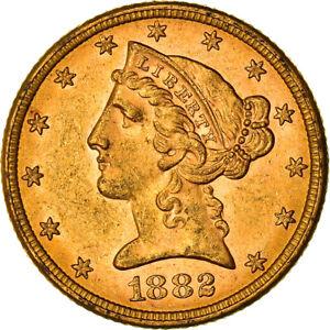 [#971343] Coin, United States, Coronet Head, $5, Half Eagle, 1882, U.S. Mint