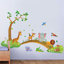Jungle Forest Animal Across the Bridge Tree Wall Sticker Kids Nursery Room Decor