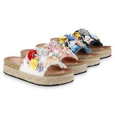 Damen Pantoletten Sandaletten Pailletten Blumen Bast Plateau 834326 Schuhe