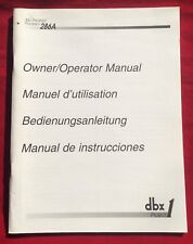 DBX Project 1 Mic Preamp Processor 286A Owner Operator Manual