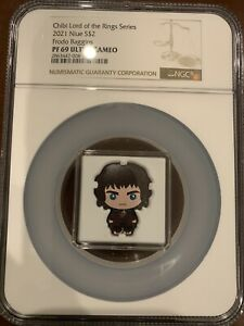 2021 Colorized Silver Lord Of The Rings Frodo Baggins $2 Chibi Coin NGC PF 69